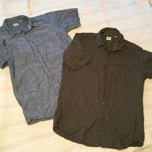 2 UNIQLO cotton linen button up shirts